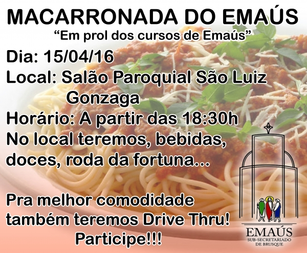 Macarronada do Emaús 2016